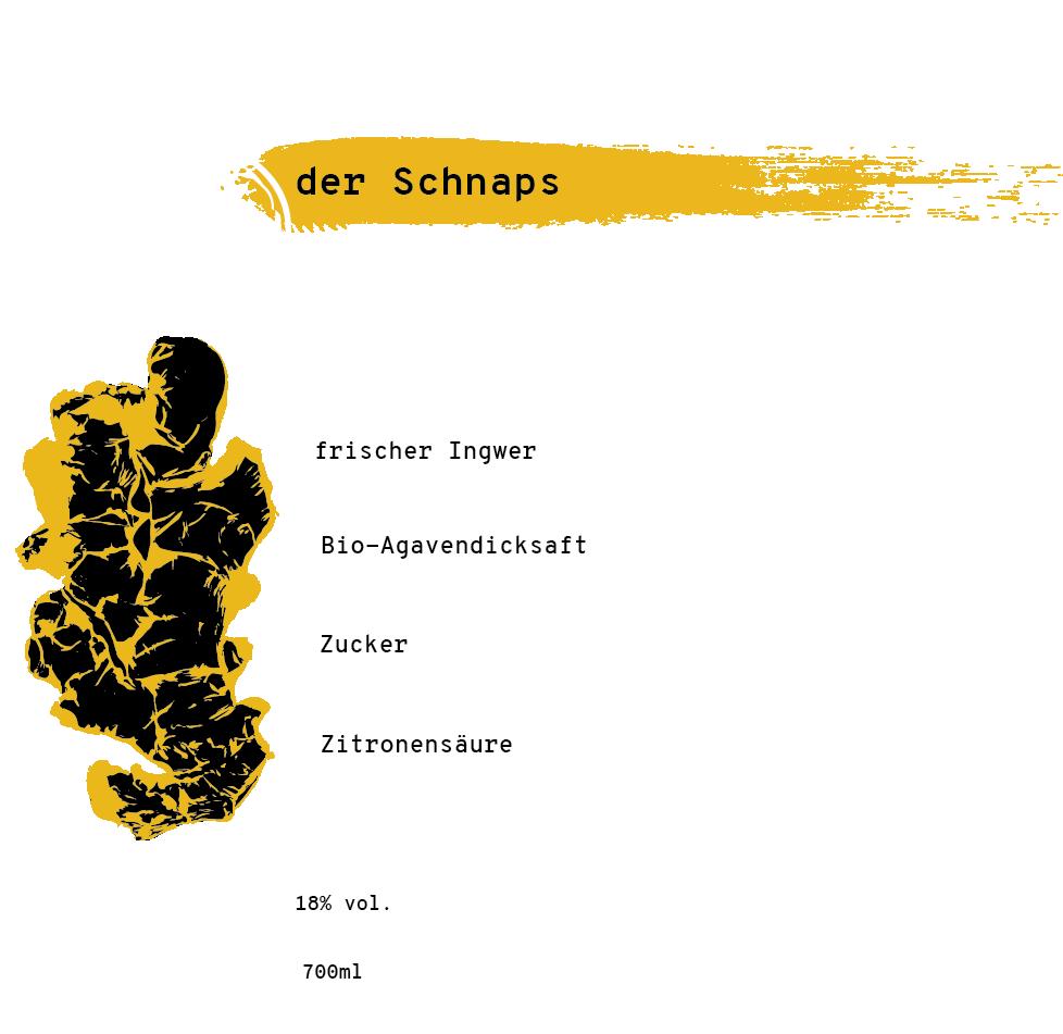 Illustrierte Zutatenliste für den Ingwerschnaps